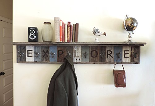 Personalized Reclaimed Wood Coat Rack Barn Wood hooks w/ 4