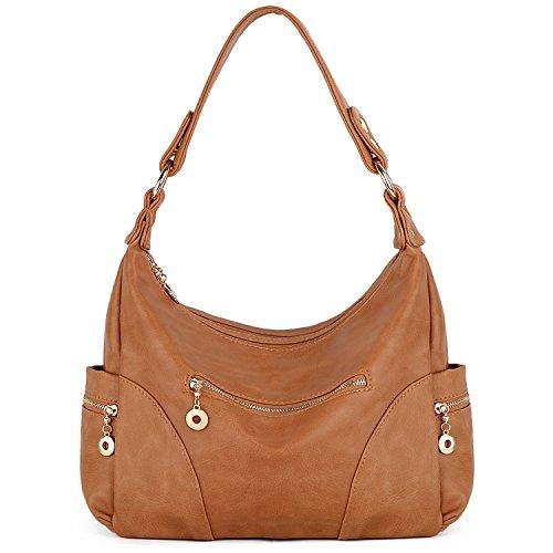 (UTO Women Handbag PU Leather Purse Multi Pocktets Shoulder Bag C Brown)