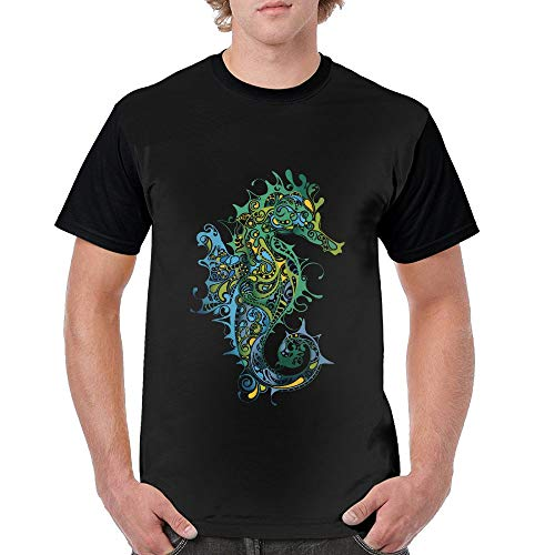 Shenigon Men Tshirts Dragon Totem Short Sleeve Black L