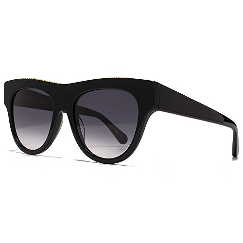 Stella McCartney Falabella BOLD Falabella Brow détail lunettes de soleil en noir SC0017S 001 51 Gradient Grey