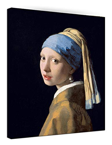 - Canvas Wall Art -Girl with A Pearl Earring by Johannes Vermeer Painting Print- 24
