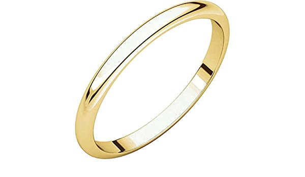 02.00 mm Light Half Round Band in 14K White Gold Size 9.5