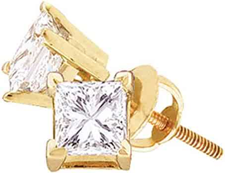 .19cttw I2 Mia Diamonds 14kt Yellow Gold Unisex Princess Diamond Solitaire Stud Earrings
