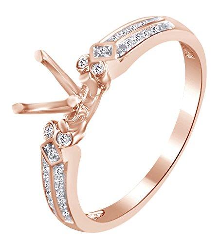 White Natural Diamond Semi Mount Ring Mm In 10k Rose Gold (0.15 Cttw) Ring (Semi Mount)