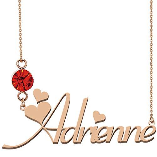 HUAN XUN Custom Nameplated Jewelry 18K Gold Necklace Adrienne