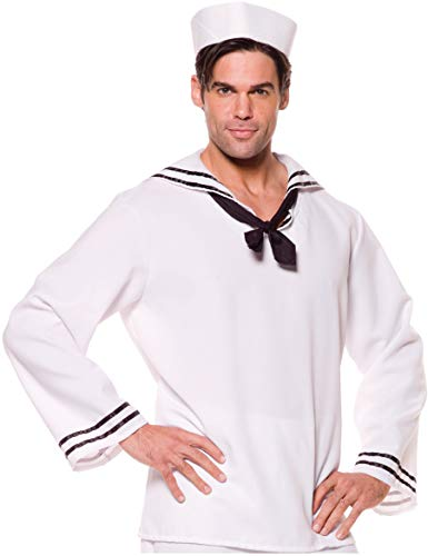 Underwraps Costumes Men's Sailor Costume - Shirt, White/Black, X-Large ()
