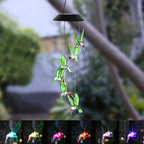 JHFUH Color Changing LED Solar Wind Chime Hummingbird Wind Street Lights Waterproof Solar Lights for Garden Home Yard Patio Lighting