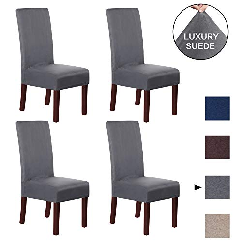 H.VERSAILTEX Dining Chair Covers (Set of 4) Dining Chair Slipcover Super Stretch Stylish Furniture Cover/Protector Featuring Suede Fabric, Modern Velvet Plush Slipcover High Chair Cover, Charcoal