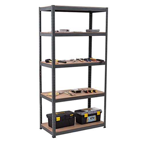 Steel Reinforced Shelving Unit - Giantex Storage Rack Utility Shelf 5-Tier Heavy Duty 2750LBS Garage Shelves Shelving Unit