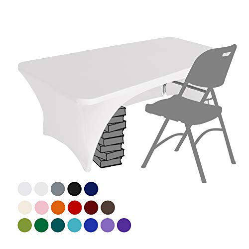Eurmax Spandex Table Cover 6 ft. Fitted 30+ Colors Polyester Tablecloth Stretch Spandex Table Cover-Table Toppers,6 FT Table Cover Open Back(White)