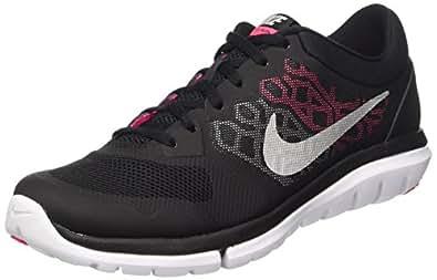 NIKE Women's Flex Run 2015 Running Shoe Black/Pink/Metallic Silver Size 7 M