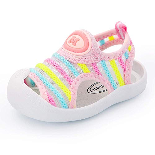 Toddler Boys Girls Summer Sport Sandals Closed Toe Non-Slip Rubber Sole Pool Beach Flyknit Mesh Sneakers Lightweight Outdoor Water Shoes(Pink Stripe,17)