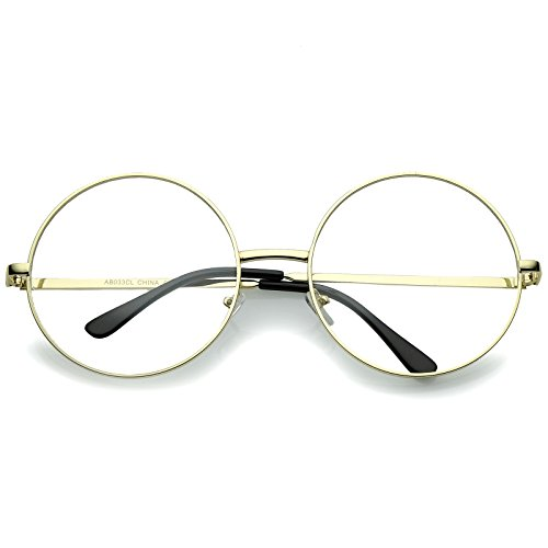 sunglassLA - Oversize Round Nerd Wizard Costume Glasses Clear Lens 60mm (Gold/Clear)