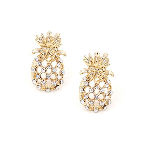 Hanloud Gold Hollow Pineapple Earrings Cute Unique Fruit Jewelry Design for Women and Girl