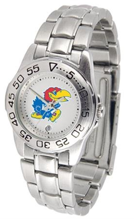 NCAA Kansas Jayhawks Ladies Gameday Sport Watch with Stainless Steel Band