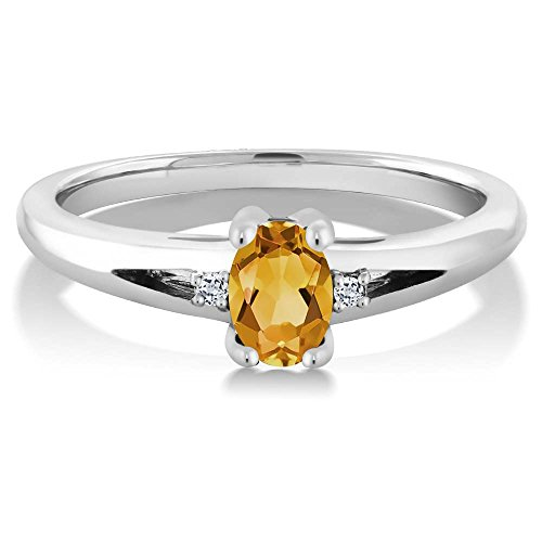 925 Sterling Silver Genuine Citrine & White Topaz Gemstone Birthstone Women's 3-Stone Ring Available in size 5, 6, 7, 8, 9 (0.44 Cttw, 6X4MM Yellow Citrine)
