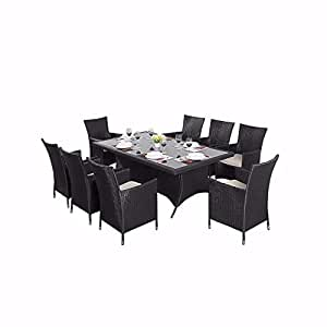 8 SEATER OUTDOOR RATTAN CHAIRS WITH ABOVE GLASS TABLE IN BLACK