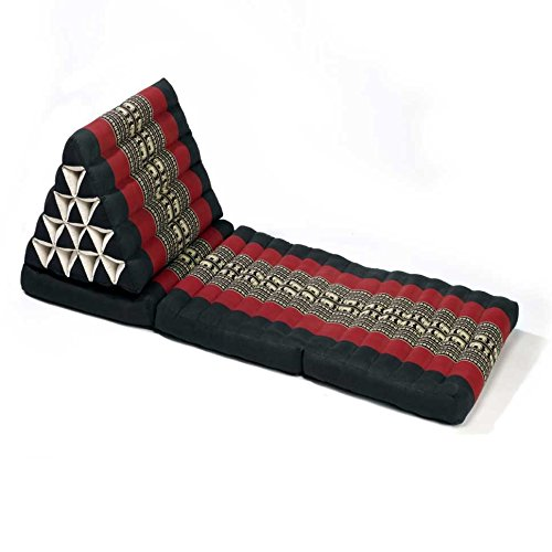 Thai style Triangle Yoga and Relaxation Lounger floor cushion Black-Red by Lucy