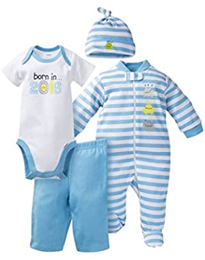 Gerber Baby Baby Boys' 4 Piece Bodysuit, Sleeper, Cap, and Pant Set - Born in 2016
