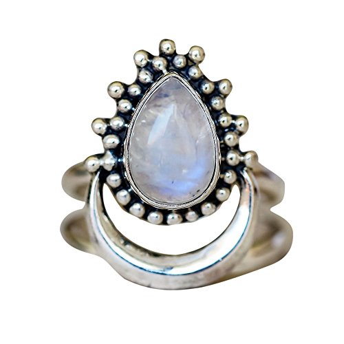 XBKPLO Rings for Women's Boho Natural Drop of Water Wedding Moonstone Jewelry Accessories Gift Size 5-11 (10)