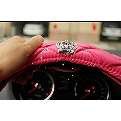 fangfei Crown Car Steering Wheel Cover for Girls & Women - Cute and Pink, Natural Latex Non-Toxic and odorless Safe Driving (Pink - Diamonds): Automotive