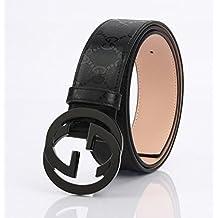 EDERRA GG Silver Buckle Gucci Black leather belt