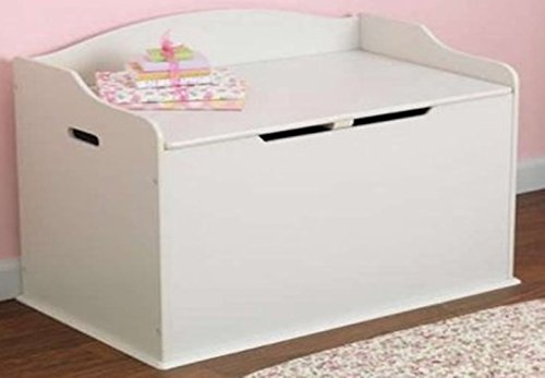 Toy Box, White, Functional, Safety Hinge on Lid Protects Young Fingers from Getting Pinched, Made of Wood, Doubles as a Bench for Additional Seating, Easy to Put Together, BONUS FREE E-book by Home X Style