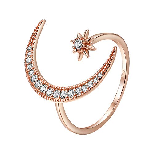 Angol Crescent Moon Star Adjustable Ring, 925 Sterling Silver Crescent Moon Ring Cubic Zirconia Opening Ring Gift for Women with Gift Bag (Rose Gold 2)