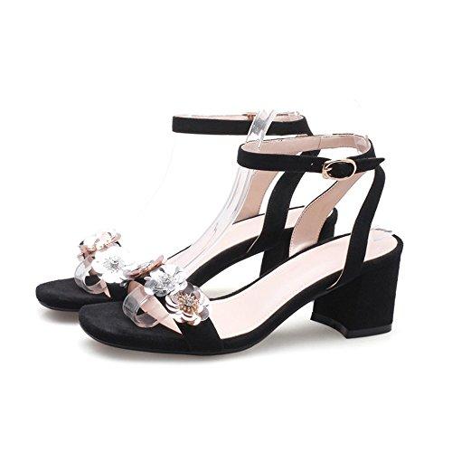 pesante XIAOQI a Nero Pure Estate manzo inferiore con opzionale sandali versione fatte pecora colore Anti nuova della coreana scarpe fiore mano Tri wxRY4nxp