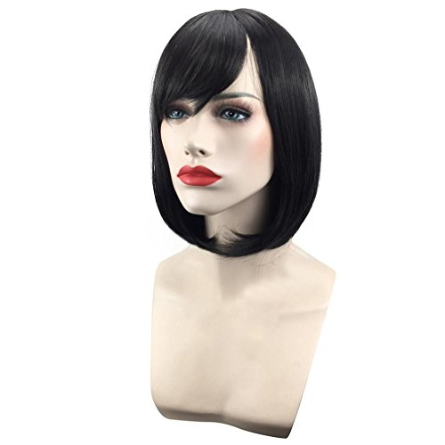 Sinwo Fashion Bob Style Wig Women's Short Straight Full Hair Wigs Cosplay Party Neat Bangs (B)