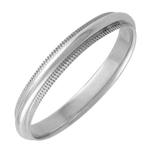Beaded Edge Wedding Band Ring (14K White Gold Traditional Milgrain Edge Women's Comfort Fit Wedding Band (3mm) Size-6c1)