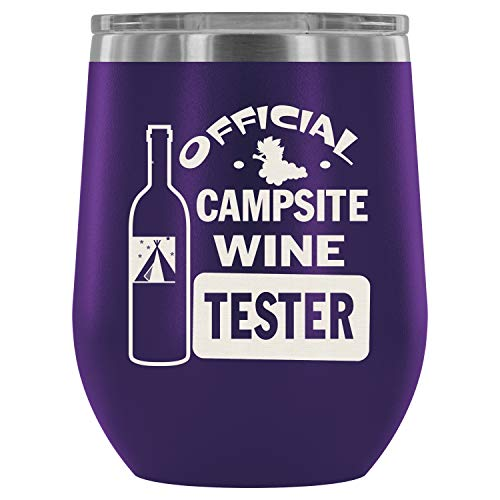 Steel Stemless Wine Glass Tumbler, I Love Wine Wine Tumbler, Official Campsite Wine Tester Vacuum Insulated Wine Tumbler (Wine Tumbler 12Oz - -