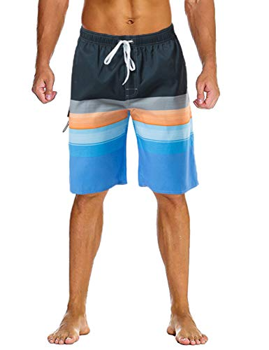 Lncropo Mens Quick Dry Swim Trunks Striped Beach Board Shorts with Lining and 3 Pockets(B10-Orange+Blue, S)