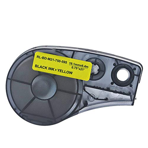 High Adhesion Vinyl Label Tape (M21-750-595-WT) - Black on Yellow Vinyl Film - Compatible with BMP21-PLUS, IDPAL, and LABPAL Label Printers - 21' Length 0.75