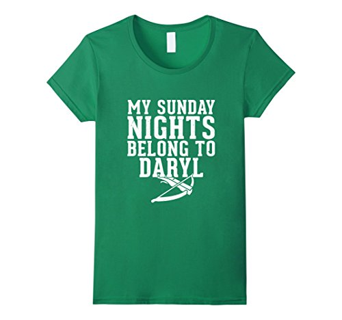 Womens My Sunday Nights Belong To Daryl TV Show Humor T-shirt Medium Kelly Green