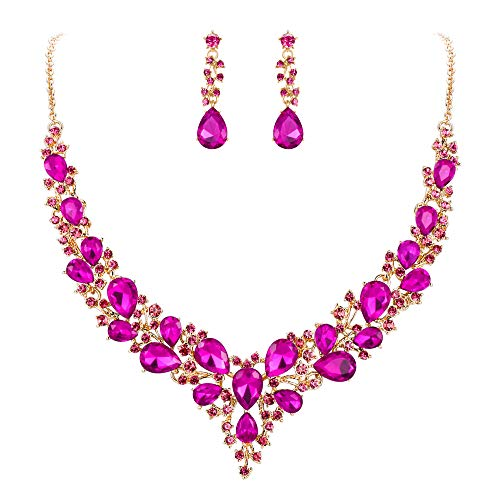 BriLove Wedding Bridal Necklace Earrings Jewelry Set for Women Austrian Crystal Teardrop Cluster Statement Necklace Dangle Earrings Set Fuchsia Gold-Toned