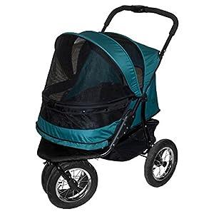 The pine green Pet Gear No-Zip Double Pet Stroller