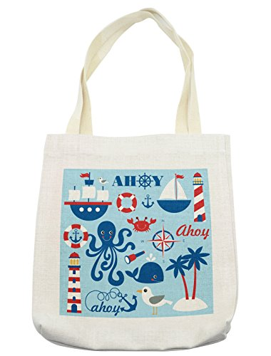 Lunarable Nautical Tote Bag, Cheerful Sea Objects Group Palm Trees Octopus Spyglass Sea Gull, Cloth Linen Reusable Bag for Shopping Books Beach and More, 16.5