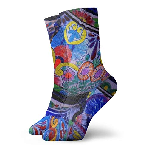 (Casual Moisture Control Sock - Novel Beautiful Bowl Colorful Pottery Prints - Adult Youth Girls 3D Print Cotton Crew Sock)