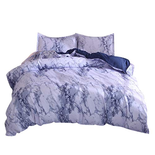 (Weiliru Blue Simple Boys Cover Sets Marble Bedding Duvet Cover Set Quilt Cover Twin King Size with Pillow Case Cotton Reversible 3 Pieces,No Sheets)