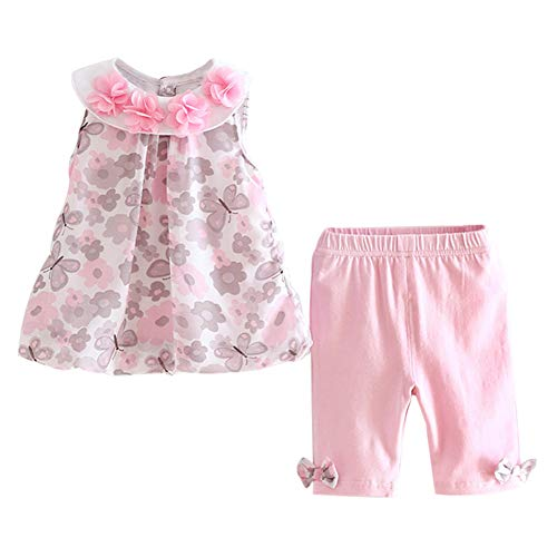 LittleSpring Baby Girls Summer Outfit Floral Jumper Dress and Pants Set Butterfly Pink Size 9M