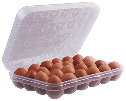 Elephanty Covered Egg Holder for Refrigerator, Plastic, 24 Eggs, Clear