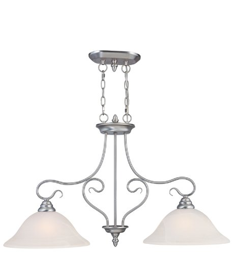Livex Lighting 6132-91 Island Pendant with White Alabaster Glass Shades, Brushed Nickel