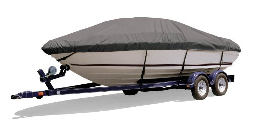 Xtreme Wakeboard - Survivor Marine Products Boat Cover for Euro V-Hull Runabout Boat with Wakeboard Tower (Inboard/Outboard Engine), Gray, 23-Feet 5-Inch - 24-Feet 4-Inch Length Overall x 102-Inch Beam Width