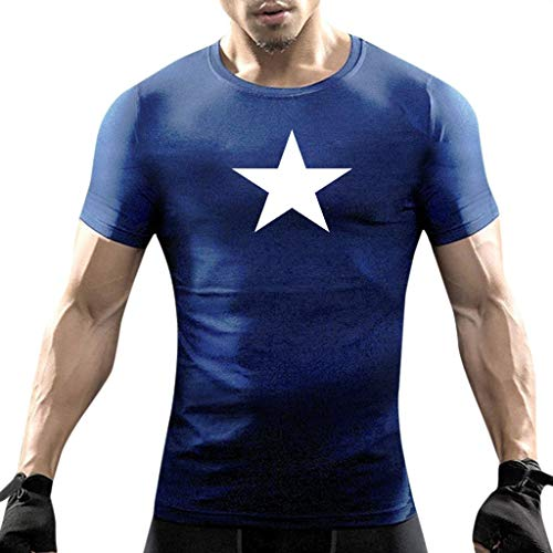 iHPH7 T-Shirts Men Short Sleeve Heavyweight Crew Neck Tee Casual Star Print Short Sleeve O-Neck Tops Blouse T-Shirts S Navy -