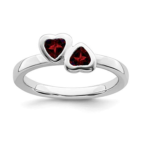 925 Sterling Silver Red Garnet Double Heart Band Ring Size 6.00 S/love Stackable Gemstone Birthstone January Fine Jewelry Gifts For Women For Her ()