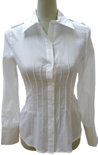 Collar Long Sleeve Shirt with Lace Tie Back, small, white