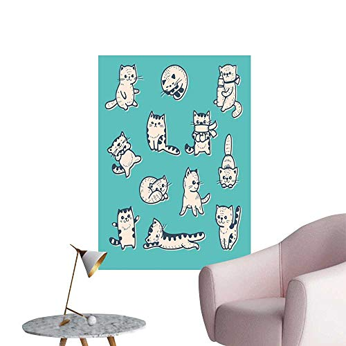 Funny Wall Mural Wallpaper Stickers Cute Kitties in Various Gestures Sleeping Playful Babyish Cat Animal Illustration Bedroom Wall Aqua Cream W24 x H36