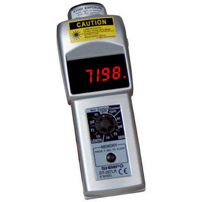 (DT-207LR-S12 - LED Contact/Non-Contact Handheld Laser Tachometer with 12