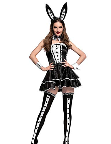 Colorful House Women Sexy Bunny Tuxedo Costume With Ear Headband and -